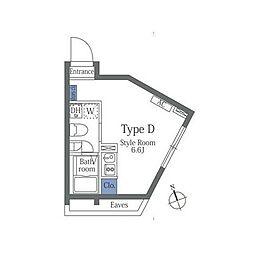 JR山手線 恵比寿駅 徒歩8分の賃貸マンション 3階ワンルームの間取り