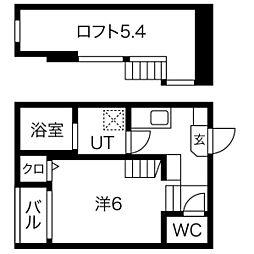 仙台市営南北線 台原駅 徒歩10分の賃貸アパート 2階1Kの間取り