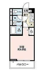 JR南武線 西国立駅 徒歩11分の賃貸アパート 2階1Kの間取り