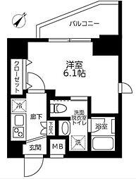 JR中央線 立川駅 徒歩10分の賃貸マンション 11階1Kの間取り
