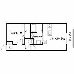 仮)若林6丁目新築アパート 1階1LDKの間取り