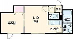 ヴァンベール 1階1LDKの間取り
