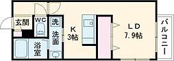 札幌市営東西線 円山公園駅 徒歩4分の賃貸マンション 2階1Kの間取り