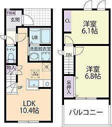 Luana(ルアナ)レジデンスA 1階2LDKの間取り