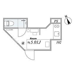 JR山手線 恵比寿駅 徒歩16分の賃貸マンション 1階ワンルームの間取り