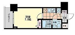 S-RESIDENCE難波Briller 8階1Kの間取り