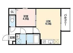 南海線 七道駅 徒歩6分の賃貸アパート 3階1LDKの間取り