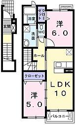 シエロ コルティーレ 2階2LDKの間取り