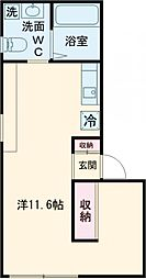 東急東横線 学芸大学駅 徒歩8分の賃貸アパート 1階ワンルームの間取り