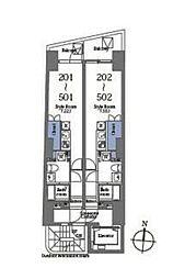 京王線 笹塚駅 徒歩6分の賃貸マンション 4階ワンルームの間取り