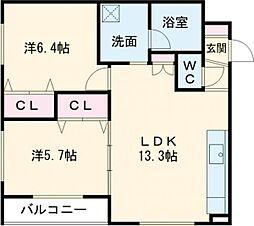 デイトナ 2階2LDKの間取り