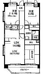 フォーレスト 6階3LDKの間取り