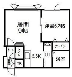 ロワールA 2階1DKの間取り