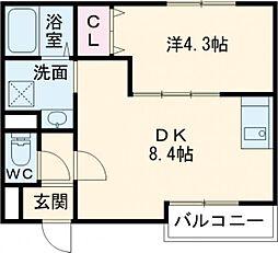 京阪本線 寝屋川市駅 徒歩10分の賃貸アパート 1階1DKの間取り