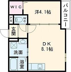 京阪本線 寝屋川市駅 徒歩10分の賃貸マンション 3階1DKの間取り