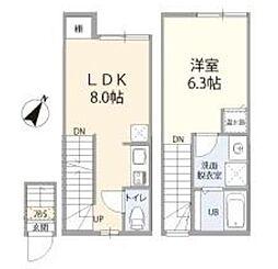 東急田園都市線 三軒茶屋駅 徒歩6分の賃貸アパート 2階1LDKの間取り