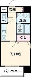 折尾4丁目賃貸マンション 9階1Kの間取り