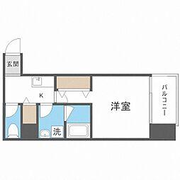 TOYOTOMi STAY Premium梅田西II 1階1Kの間取り