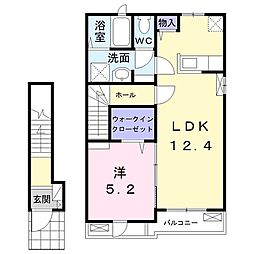 JR南武線 谷保駅 徒歩4分の賃貸アパート 2階1LDKの間取り