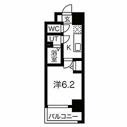JR東西線 加島駅 徒歩7分の賃貸マンション 8階1Kの間取り
