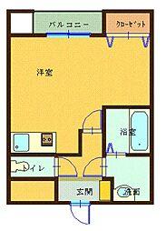 森塚第12マンション 5階ワンルームの間取り