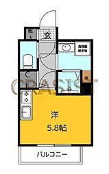 福岡市地下鉄七隈線 薬院大通駅 徒歩12分の賃貸マンション 2階ワンルームの間取り
