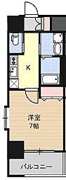 Huttenwerke Osaka Namba 6階1Kの間取り