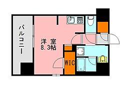 西鉄天神大牟田線 高宮駅 徒歩20分の賃貸マンション 10階ワンルームの間取り