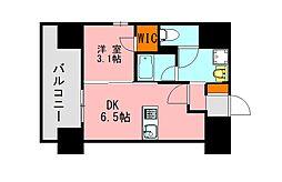 西鉄天神大牟田線 高宮駅 徒歩20分の賃貸マンション 10階1DKの間取り