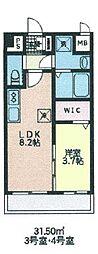 シェル新川 5階1LDKの間取り