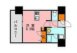 西鉄天神大牟田線 高宮駅 徒歩20分の賃貸マンション 5階ワンルームの間取り