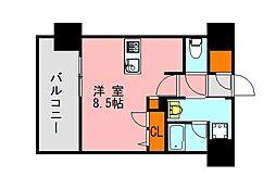西鉄天神大牟田線 高宮駅 徒歩20分の賃貸マンション 11階ワンルームの間取り