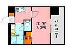 西鉄天神大牟田線 高宮駅 徒歩20分の賃貸マンション 8階1Kの間取り