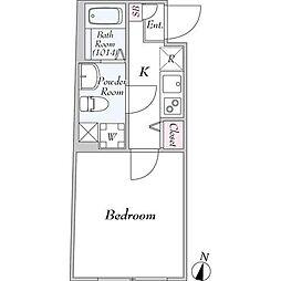 東急田園都市線 駒沢大学駅 徒歩11分の賃貸マンション 2階1Kの間取り