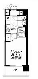 近鉄大阪線 今里駅 徒歩9分の賃貸マンション 10階1Kの間取り