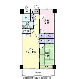 グラン・シャリオ二階堂 4階2LDKの間取り