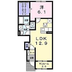 仮)尾生町アパートB 1階1LDKの間取り
