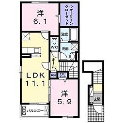 仮)尾生町アパートB 2階2LDKの間取り
