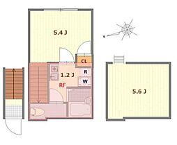 JR中央線 立川駅 徒歩10分の賃貸アパート 2階1Kの間取り