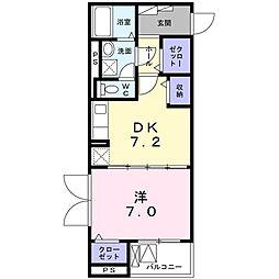 エミナール 3階1DKの間取り