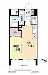 阪神本線 春日野道駅 徒歩6分の賃貸マンション 7階1DKの間取り