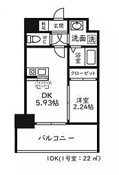 福岡市地下鉄空港線 天神駅 徒歩8分の賃貸マンション 3階1DKの間取り