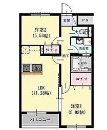 JR左沢線 北山形駅 徒歩15分の賃貸マンション 2階2LDKの間取り