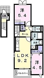 JR東海道本線 幸田駅 徒歩18分の賃貸アパート 2階2LDKの間取り