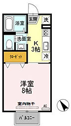 水島臨海鉄道 栄駅 徒歩38分の賃貸アパート 2階1Kの間取り