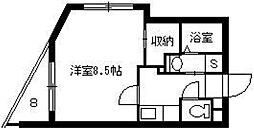 M'z鴨池II 5階1Kの間取り