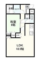 ルーヴルヤマトII 2階1LDKの間取り