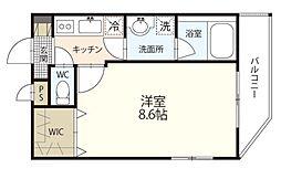 JR津山線 法界院駅 徒歩10分の賃貸マンション 4階1Kの間取り