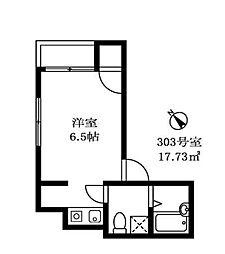 東急東横線 中目黒駅 徒歩2分の賃貸アパート 3階ワンルームの間取り