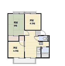 サンシティ本宿A棟 2階3DKの間取り